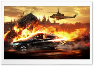 Car On Fire HD Wide Wallpaper for Widescreen