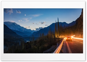 Car Road, Hunza Valley, Pakistan, Forest, Mountains HD Wide Wallpaper for 4K UHD Widescreen desktop & smartphone