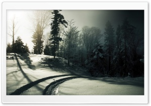 Car Tracks On The Snow HD Wide Wallpaper for Widescreen