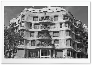 Casa Mila - Barcelona, Spain - Black And White HD Wide Wallpaper for 4K UHD Widescreen desktop & smartphone