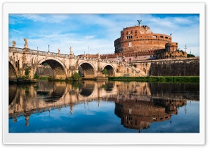 Castel Sant Angelo river, Rome, Italy HD Wide Wallpaper for Widescreen