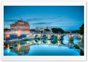 Castel Sant&#039;Angelo, Tiber River, Rome, Italy HD Wide Wallpaper for Widescreen