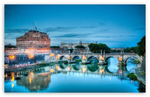 Castel Sant'Angelo, Tiber River, Rome, Italy HD wallpaper for Wide 16:10 5:3 Widescreen WHXGA WQXGA WUXGA WXGA WGA ; HD 16:9 High Definition WQHD QWXGA 1080p 900p 720p QHD nHD ; Mobile 5:3 16:9 - WGA WQHD QWXGA 1080p 900p 720p QHD nHD ;
