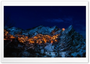 Castelmezzano at Night, Italy HD Wide Wallpaper for 4K UHD Widescreen desktop & smartphone