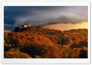 Castle, Forest, Autumn, Approaching Storm HD Wide Wallpaper for 4K UHD Widescreen desktop & smartphone