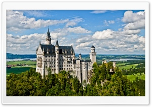 Castle Neuschwanstein as seen from Marienbrucke HD Wide Wallpaper for Widescreen