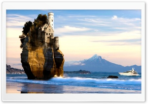 Castle On Cliff In Sea HD Wide Wallpaper for Widescreen