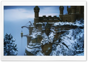 Castle On The Mountain Winter HD Wide Wallpaper for Widescreen