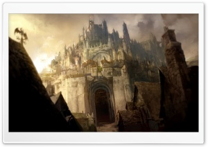 Castle Painting HD Wide Wallpaper for Widescreen