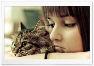 Cat And Girl HD Wide Wallpaper for Widescreen
