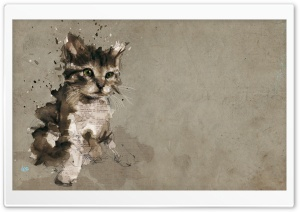 Cat Painting HD Wide Wallpaper for Widescreen