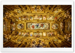 Ceiling of the Grand Foyer Palais Garnier HD Wide Wallpaper for Widescreen