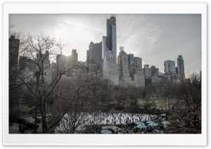 Central Park Ice Skating HD Wide Wallpaper for Widescreen