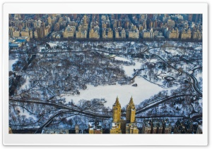 Central Park, Winter, Aerial HD Wide Wallpaper for 4K UHD Widescreen desktop & smartphone