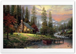 Chalet Painting HD Wide Wallpaper for 4K UHD Widescreen desktop & smartphone