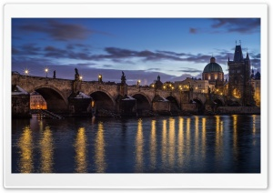 Charles Bridge, Prague, Czech Republic, Dusk HD Wide Wallpaper for Widescreen
