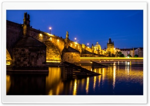 Charles bridge, Vltava river, Prague, Czech Republic HD Wide Wallpaper for Widescreen
