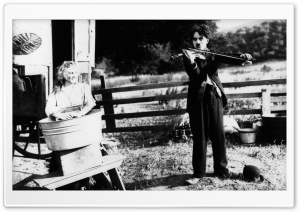 Charlie Chaplin Playing Violin HD Wide Wallpaper for 4K UHD Widescreen desktop & smartphone