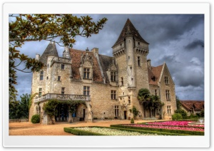 Chateau Des Milandes Castle, Dordogne, France HD Wide Wallpaper for Widescreen