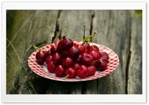 Cherries on a Plate, Outdoor HD Wide Wallpaper for 4K UHD Widescreen desktop & smartphone