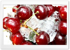 Cherries On Ice Cubes HD Wide Wallpaper for Widescreen