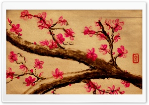 Cherry Blossom Painting HD Wide Wallpaper for Widescreen