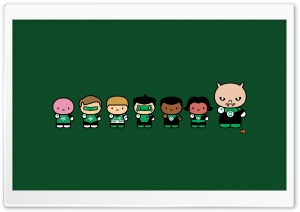 Chibi Green Lantern Corps HD Wide Wallpaper for Widescreen