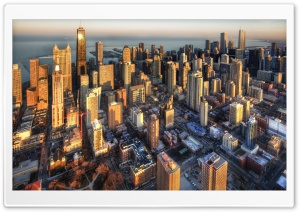 Chicago Aerial View HD Wide Wallpaper for Widescreen