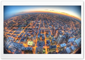 Chicago Aerial View Fisheye Ultra HD Wallpaper for 4K UHD Widescreen desktop, tablet & smartphone