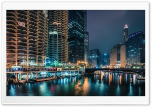 Chicago at Night Ultra HD Wallpaper for 4K UHD Widescreen desktop, tablet & smartphone