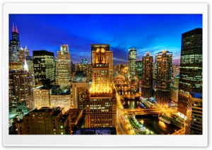 Chicago At Night HD Wide Wallpaper for Widescreen