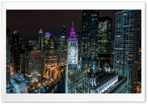 Chicago Buildings at Night HD Wide Wallpaper for 4K UHD Widescreen desktop & smartphone