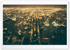 Chicago Night Lights HD Wide Wallpaper for Widescreen
