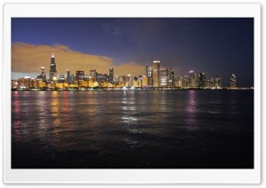 Chicago Night Sky HD Wide Wallpaper for Widescreen