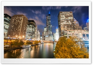 Chicago River, Night, Autumn HD Wide Wallpaper for Widescreen