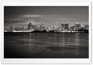 Chicago Skyline BW HD Wide Wallpaper for Widescreen