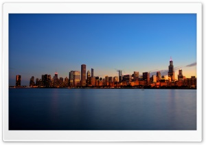 Chicago Skyline Night HD Wide Wallpaper for Widescreen