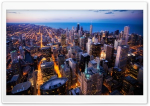 Chicago Skyscrapers, Night, USA HD Wide Wallpaper for Widescreen