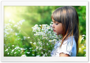 Child And Flowers HD Wide Wallpaper for Widescreen