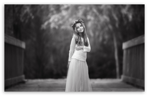 Download child girl black and white photography hd wallpaper