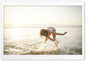 Child Girl Playing, Beach Fun, Water Splash, Summer HD Wide Wallpaper for 4K UHD Widescreen desktop & smartphone