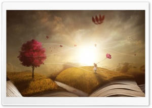 Child Girl, Story Book, Surreal Photography HD Wide Wallpaper for 4K UHD Widescreen desktop & smartphone