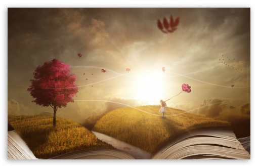 Download Child Girl, Story Book, Surreal Photography HD Wallpaper