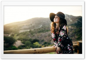 Child Girl wearing a Sunlight Hat HD Wide Wallpaper for 4K UHD Widescreen desktop & smartphone