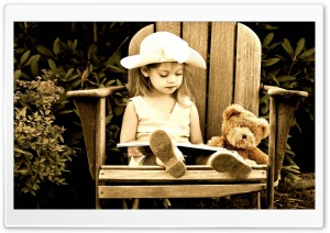 Child Reading A Book HD Wide Wallpaper for Widescreen