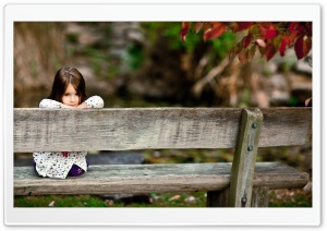 Child Sitting On A Bench HD Wide Wallpaper for Widescreen