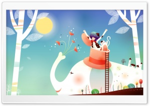 Childhood Fairytales Elephant Ride HD Wide Wallpaper for Widescreen