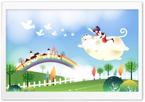 Childhood Fairytales Flying Cat HD Wide Wallpaper for 4K UHD Widescreen desktop & smartphone
