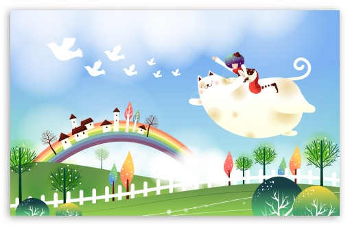 Childhood Fairytales Flying Cat HD wallpaper for Wide 16:10 5:3 Widescreen WHXGA WQXGA WUXGA WXGA WGA ; HD 16:9 High Definition WQHD QWXGA 1080p 900p 720p QHD nHD ; Standard 4:3 5:4 3:2 Fullscreen UXGA XGA SVGA QSXGA SXGA DVGA HVGA HQVGA devices ( Apple PowerBook G4 iPhone 4 3G 3GS iPod Touch ) ; iPad 1/2/Mini ; Mobile 4:3 5:3 3:2 16:9 5:4 - UXGA XGA SVGA WGA DVGA HVGA HQVGA devices ( Apple PowerBook G4 iPhone 4 3G 3GS iPod Touch ) WQHD QWXGA 1080p 900p 720p QHD nHD QSXGA SXGA ;