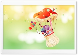 Childhood Fairytales Mushroom Balloon HD Wide Wallpaper for Widescreen